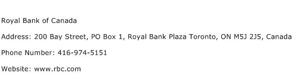 Royal Bank of Canada Address Contact Number