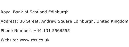 Royal Bank of Scotland Edinburgh Address Contact Number