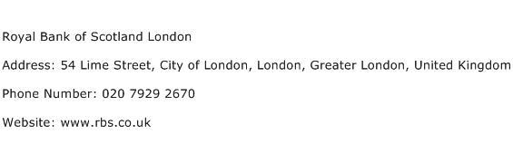 Royal Bank of Scotland London Address Contact Number