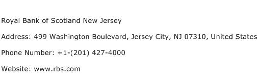 Royal Bank of Scotland New Jersey Address Contact Number