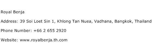Royal Benja Address Contact Number