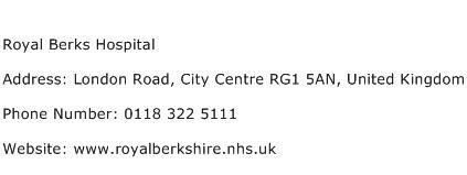 Royal Berks Hospital Address Contact Number