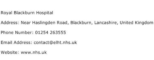 Royal Blackburn Hospital Address Contact Number