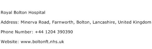 Royal Bolton Hospital Address Contact Number