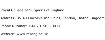 Royal College of Surgeons of England Address Contact Number