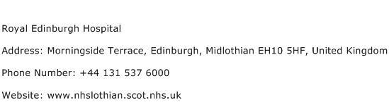 Royal Edinburgh Hospital Address Contact Number