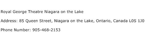 Royal George Theatre Niagara on the Lake Address Contact Number