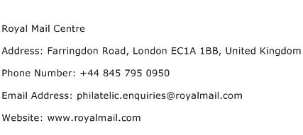 Royal Mail Centre Address Contact Number