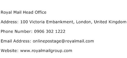 Royal Mail Head Office Address Contact Number