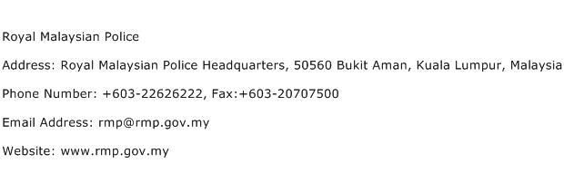 Royal Malaysian Police Address Contact Number
