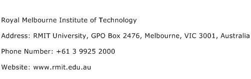 Royal Melbourne Institute of Technology Address Contact Number