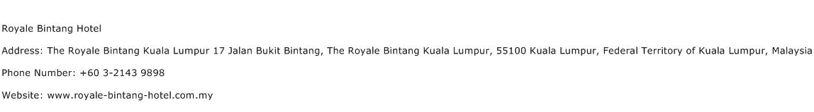 Royale Bintang Hotel Address Contact Number