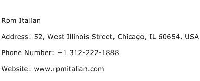 Rpm Italian Address Contact Number