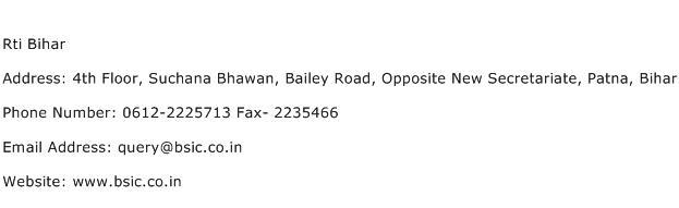 Rti Bihar Address Contact Number