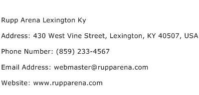 Rupp Arena Lexington Ky Address Contact Number