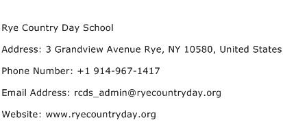 Rye Country Day School Address Contact Number