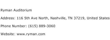 Ryman Auditorium Address Contact Number