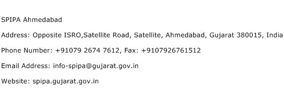 SPIPA Ahmedabad Address Contact Number