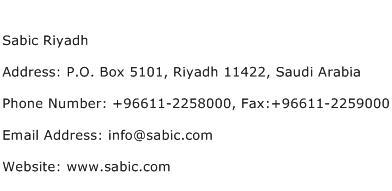 Sabic Riyadh Address Contact Number