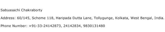 Sabyasachi Chakraborty Address Contact Number