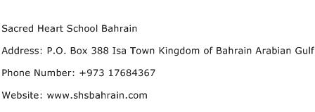 Sacred Heart School Bahrain Address Contact Number