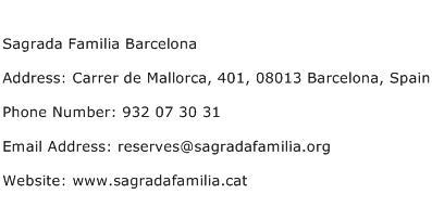 Sagrada Familia Barcelona Address Contact Number