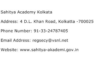 Sahitya Academy Kolkata Address Contact Number