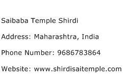 Saibaba Temple Shirdi Address Contact Number