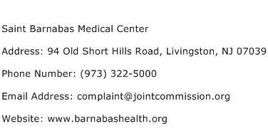 Saint Barnabas Medical Center Address Contact Number