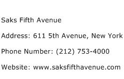 Saks Fifth Avenue Address Contact Number