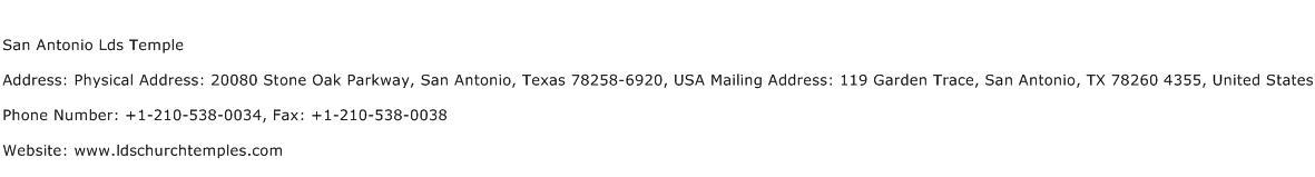 San Antonio Lds Temple Address Contact Number