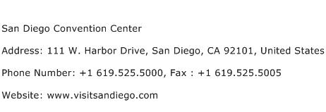 San Diego Convention Center Address Contact Number