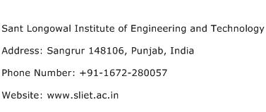 Sant Longowal Institute of Engineering and Technology Address Contact Number