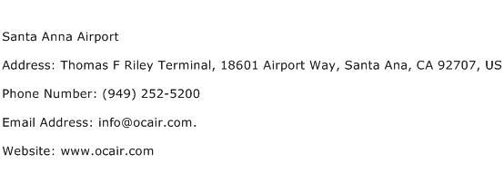 Santa Anna Airport Address Contact Number
