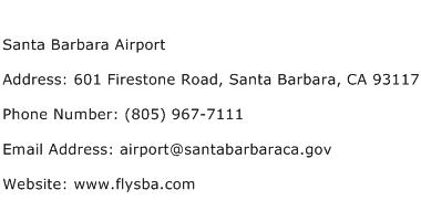 Santa Barbara Airport Address Contact Number