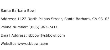 Santa Barbara Bowl Address Contact Number