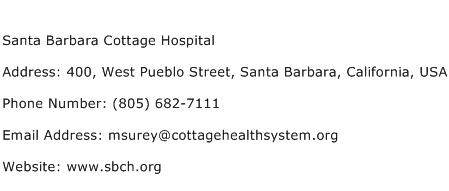 Santa Barbara Cottage Hospital Address Contact Number