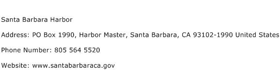 Santa Barbara Harbor Address Contact Number