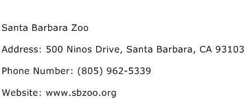 Santa Barbara Zoo Address Contact Number