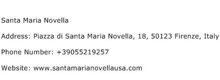Santa Maria Novella Address Contact Number