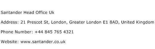 santander head office contact number