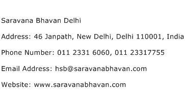 Saravana Bhavan Delhi Address Contact Number
