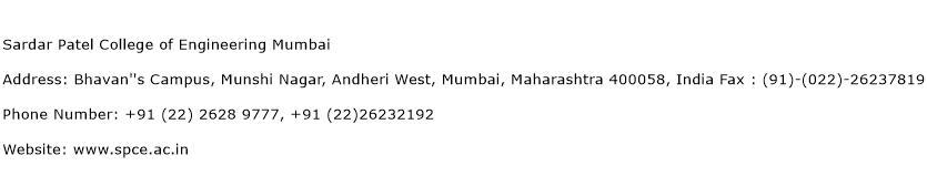 Sardar Patel College of Engineering Mumbai Address Contact Number