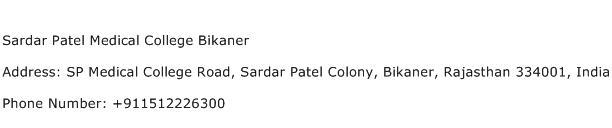 Sardar Patel Medical College Bikaner Address Contact Number