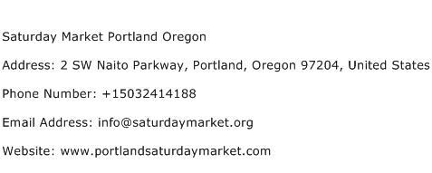 Saturday Market Portland Oregon Address Contact Number