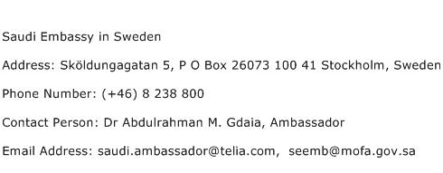 Saudi Embassy in Sweden Address Contact Number