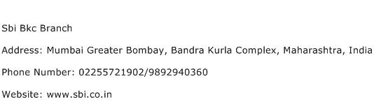 Sbi Bkc Branch Address Contact Number