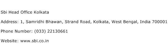 Sbi Head Office Kolkata Address Contact Number
