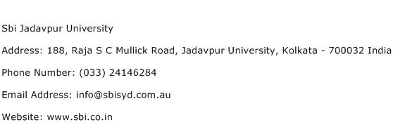 Sbi Jadavpur University Address Contact Number