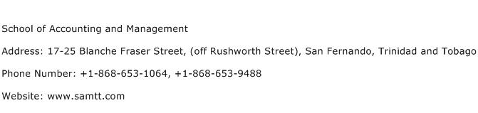 School of Accounting and Management Address Contact Number
